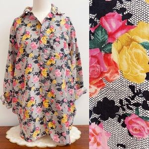 Black Lace Pink Yellow Rose Print Silk Button Top